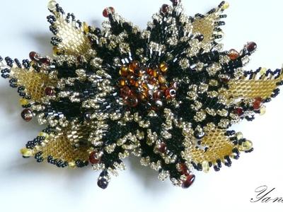 Обзор по объемным заколкам-цветам из бисера.