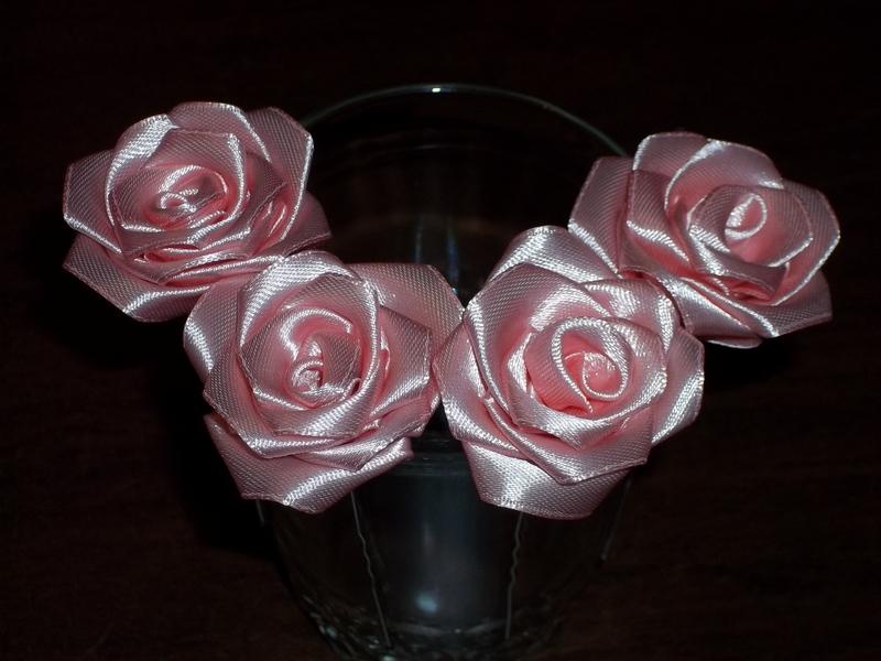 Как сделать розы из атласных лент для волос