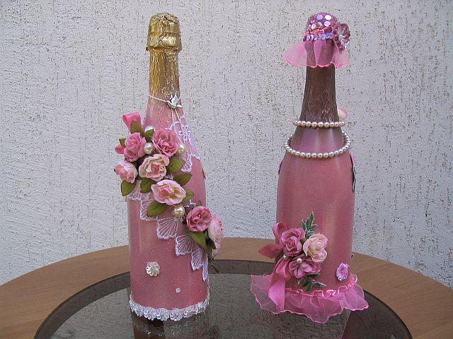 Украшение на бутылку шампанского своими руками фото