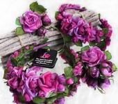 Украшения для волос - Ободок с шелковыми розами «Лесная ягода»