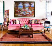Оригинальные подарки - Картина лентами — Летний пейзаж с соломенной мебелью