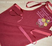 Оригинальные подарки - Фартук для кухни из льна с вышивкой Любимой маме