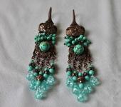 Комплекты украшений - Серьги медные с натуральной бирюзой Голубые мечты