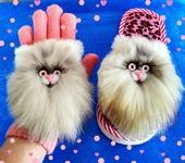 Комплекты украшений - Нашивки Кошечки из натурального меха