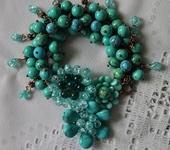 Комплекты украшений - Браслет медный с натуральной бирюзой, повтор Голубые мечты