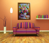 Элементы интерьера - Картина лентами — Гортензия (цветы)