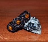 Комплекты украшений - Плетеный комплект. Браслет и кольцо с натуральными камнями.