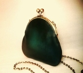 Сумки, рюкзаки - Маленькая зелёная кожаная сумочка Ретро