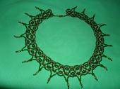 Колье, бусы - колье из бисера зелено-золотистое