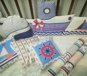 Для новорожденных - Бортики в кроватку для новорожденных в морском стиле