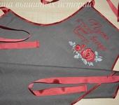 Оригинальные подарки - Фартук  из льна с вышивкой  Цветут цветы