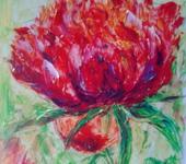 Живопись - Красная хризантема