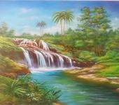 Живопись - Картина маслом Водопад