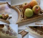 Предметы для кухни - Блюда из дерева березы с торцевой мозаикой