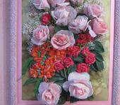 """Вышитые картины - картина """"Розовый букет"""""""