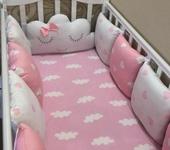 Для новорожденных - Комплект в кроватку бортики + простынь на резинке
