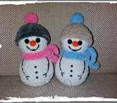 Вязаные куклы - снеговичок