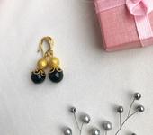 Серьги - Серьги из бусин чёрного агата и металлических бусин в золотом цвете