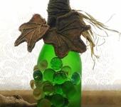 Декоративные бутылки - Декоративная бутылка « Виноград» зеленая