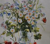 Вышитые картины - ВЫшитая картина Летний букет с ромашками