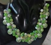 Комплекты украшений - Колье с японскими бусинами тенша, агатом,зеленым кварцем Каллы