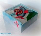 """Развивающие игрушки - Кубики детские декупаж """"Мишка летчик"""""""