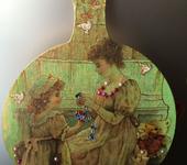 """Оригинальные подарки - Декупаж. Деревянная доска. Композиция """"Мама с дочкой"""""""