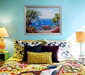 Оригинальные подарки - Картина лентами — Морской пейзаж с пальмой