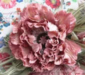 Броши - Мак «Осенний поцелуй». Цветы из ткани