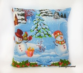 Подушки, одеяла, покрывала - Подушка Новогодняя Снеговики