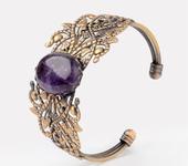 Браслеты - Винтажный браслет с аметистом Зери