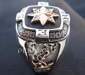Кольца - Серебряный мужской перстень Роза ветров