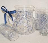 "Графины, кувшины - Набор посуды ""Синий орнамент"". Кувшин и стаканы"