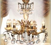 Светильники, люстры - Бронзовая люстра AVRORA art. 09-02  ручной работы с сочетанием камня оникса.