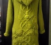 Верхняя одежда - Пальто с объемными цветами, оливковое