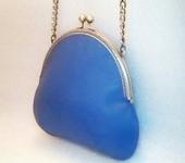 Сумки, рюкзаки - Сумка кожаная светло-синяя (голубая пудровая) на цепочке