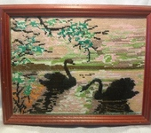 Вышитые картины - Картина вышитая Лебеди на закате
