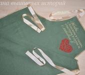 Оригинальные подарки - Фартук женский подарочный из льна с вышивкой  Любовь в сердце