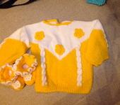 """Одежда для девочек - Джемпер с пинетками """"Солнышко"""""""
