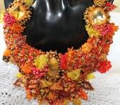 Колье, бусы - Колье из натуральных камней и бисера Осенний блюз