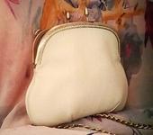 Сумки, рюкзаки - Сумка молочно-белая кожаная Винтажный стиль