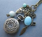 Часы - Часы кулон с голубым амазонитом Весенний лист (украшения с камнями)