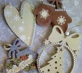 Элементы интерьера - Набор деревянных елочных украшений ручной работы.
