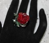 Комплекты украшений - Кольцо серебряное  лэмпворк цветочное с розой