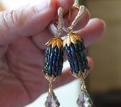 Серьги - Серьги из стекляруса с подвесками Сваровски Радужные