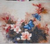 Вышитые картины - Вышивка крестом Бабочки в цветах