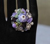 Комплекты украшений - Кольцо лэмпворк цветочное Сирень