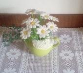 Оригинальные подарки - Ромашки из бисера в керамическом чайнике «Ромашковый чай»