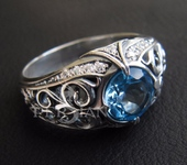Кольца - Серебряное кольцо «ESTINAE» с голубым топазом