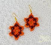 Серьги - Небольшие серьги макраме. Оранжевый цветок.
